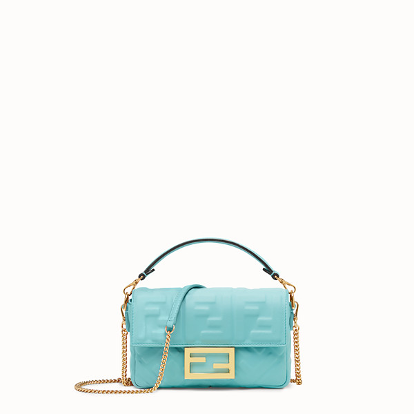 FENDI MINI BAGUETTE - Pale blue leather bag - view 1 small thumbnail