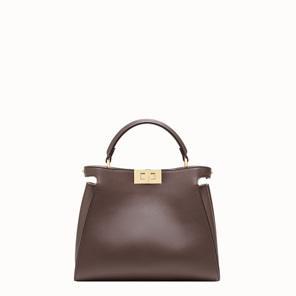 FENDI PEEKABOO ICONIC ESSENTIALLY - Brown leather bag - view 1 small thumbnail