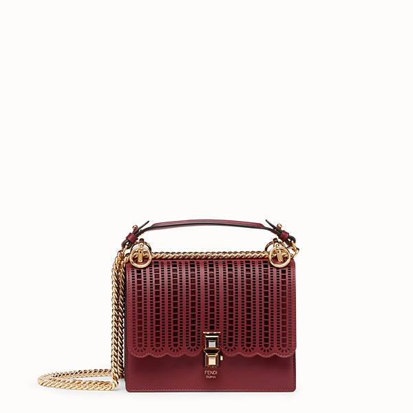 FENDI KAN I SMALL - Maroon leather mini-bag - view 1 small thumbnail
