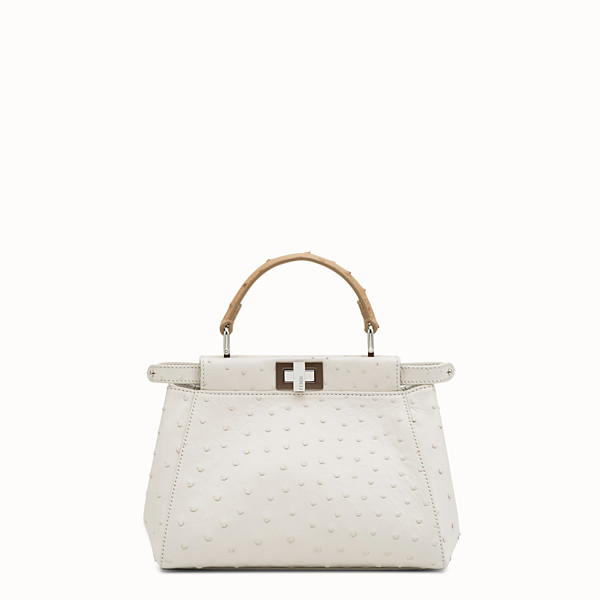 FENDI PEEKABOO ICONIC MINI - White ostrich bag - view 1 small thumbnail