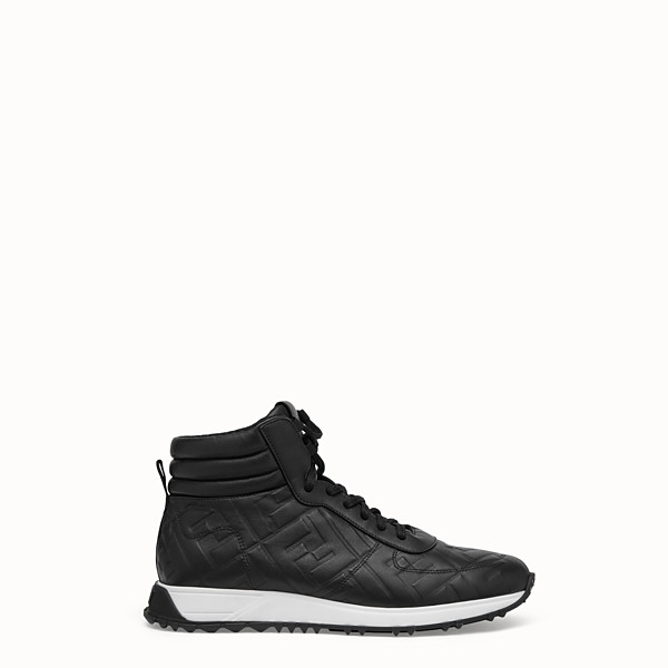 FENDI SNEAKERS - Black leather high-tops - view 1 small thumbnail