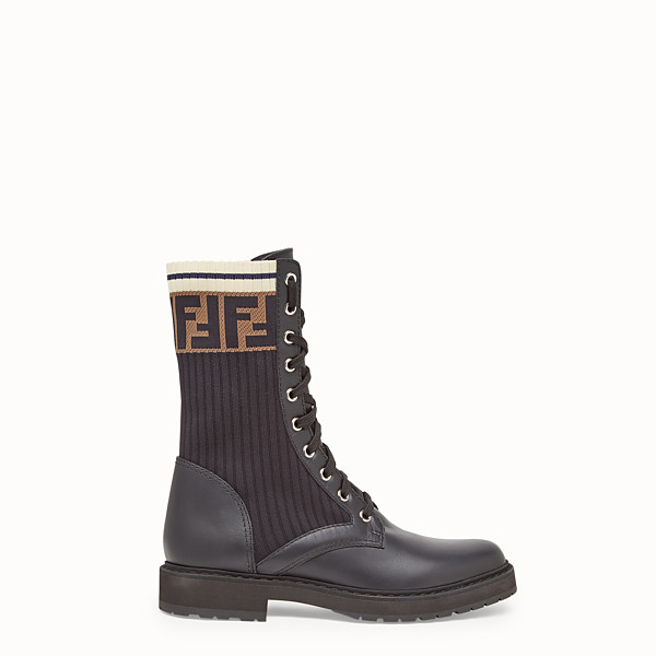 FENDI ANKLE BOOTS - Black leather biker boots - view 1 small thumbnail