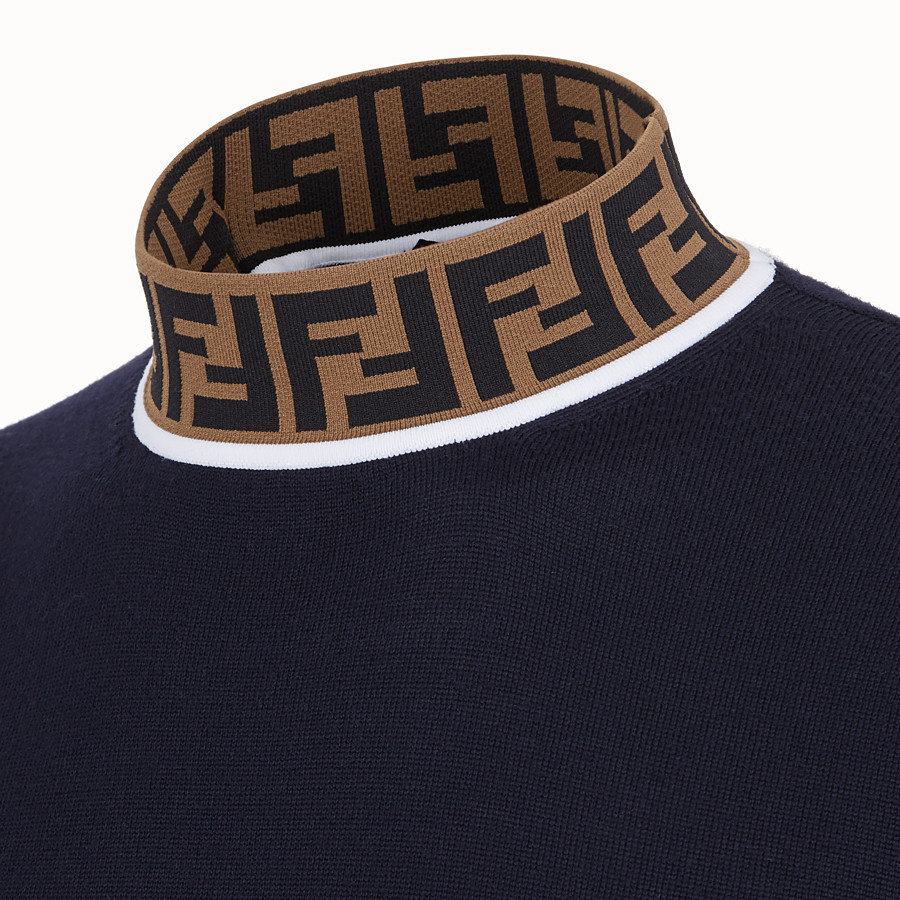 FENDI TURTLENECK - Blue wool jumper - view 3 detail