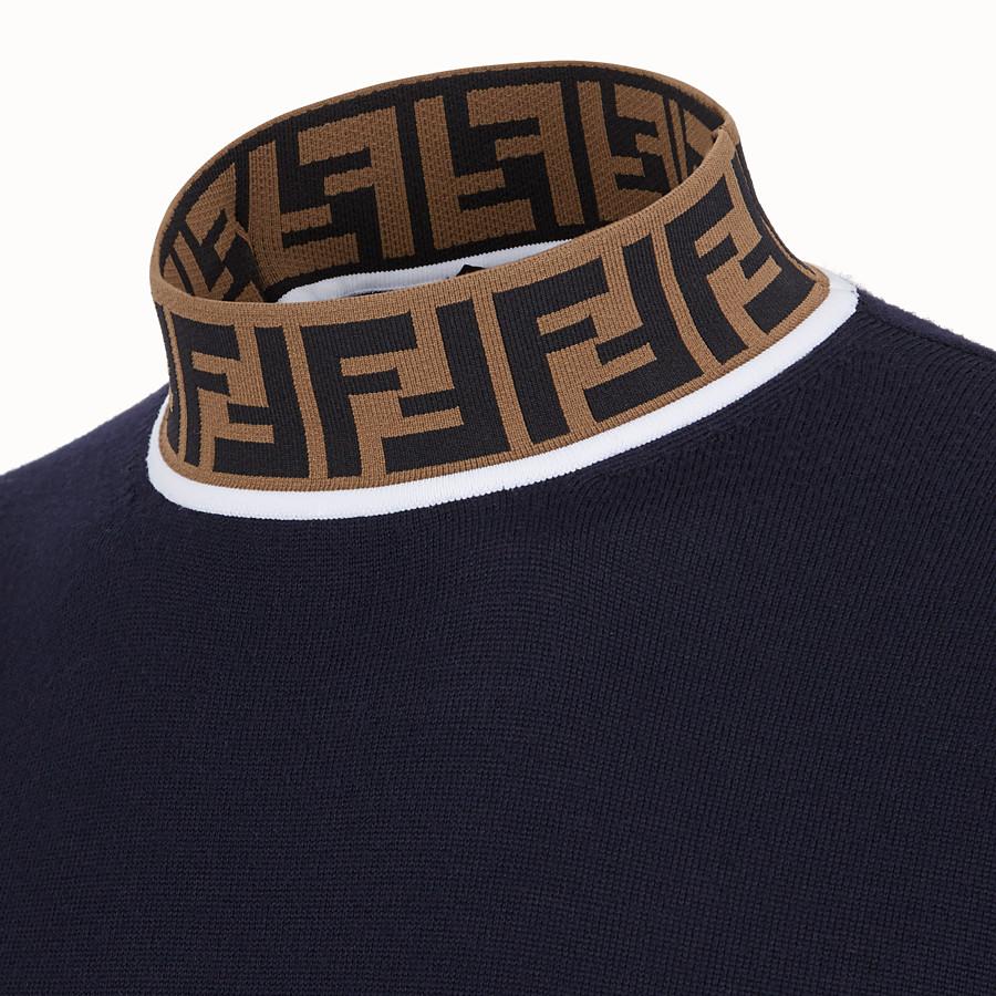 FENDI TURTLENECK - Blue wool jumper - view 3 detail