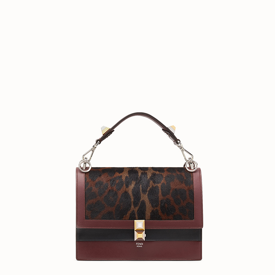 FENDI KAN I - Burgundy leather and pony skin handbag - view 1 detail
