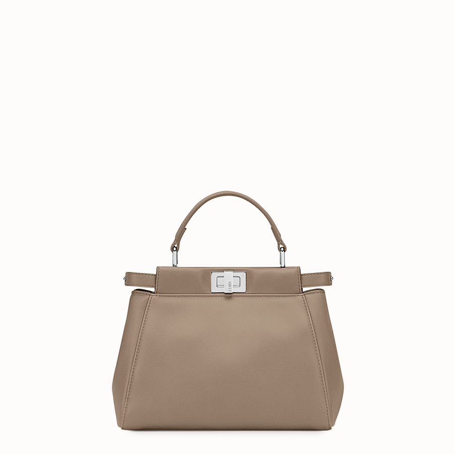 FENDI PEEKABOO ICONIC MINI - Handbag in dove gray nappa - view 1 detail