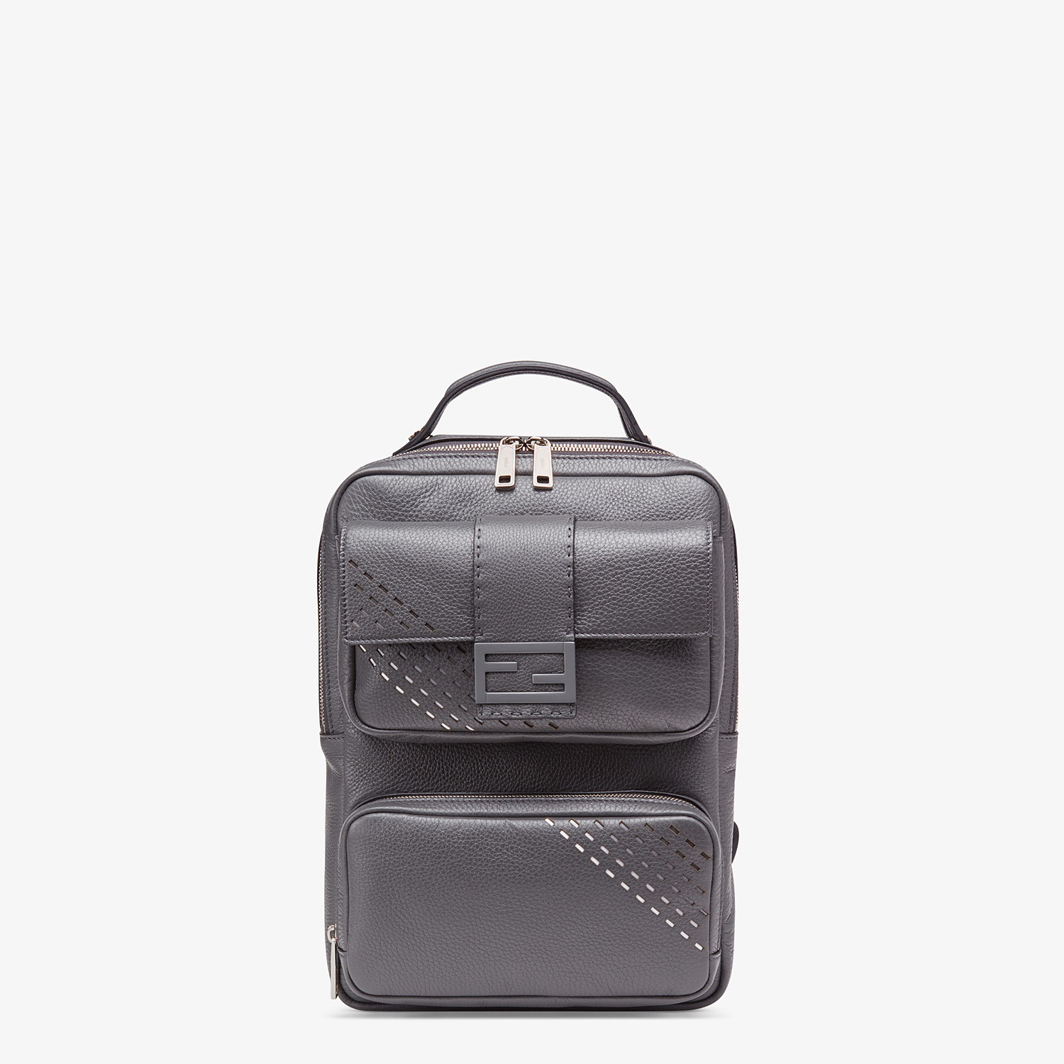 FENDI BACKPACK - Grey calf leather backpack - view 1 detail