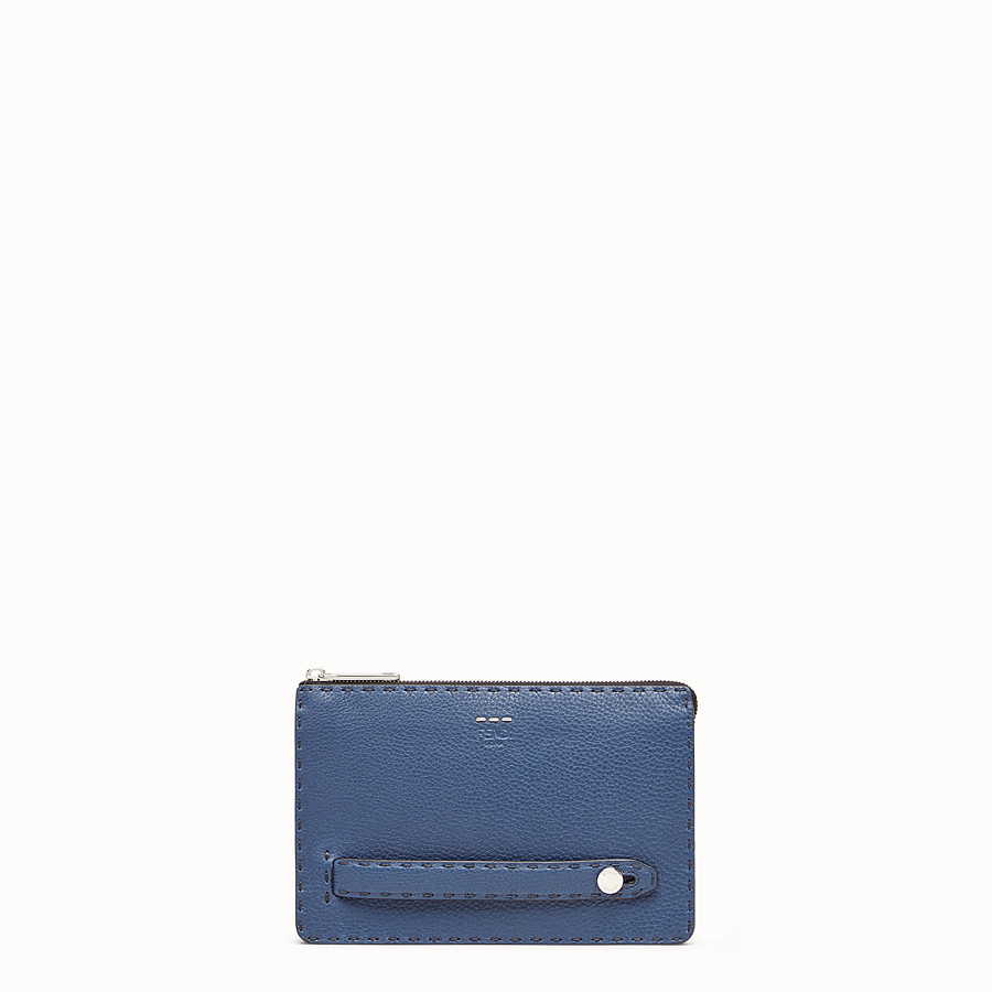 FENDI CLUTCH - Blue leather slim pouch - view 1 detail