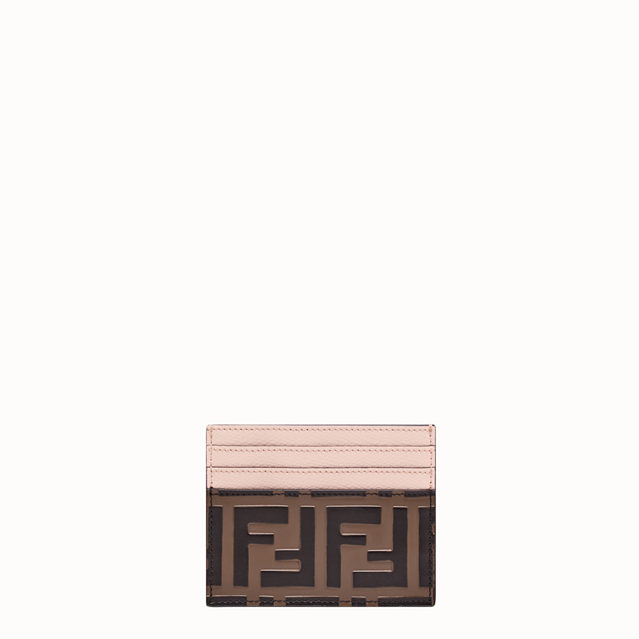 FENDI CARD HOLDER - Brown leather flat card holder - view 1 detail