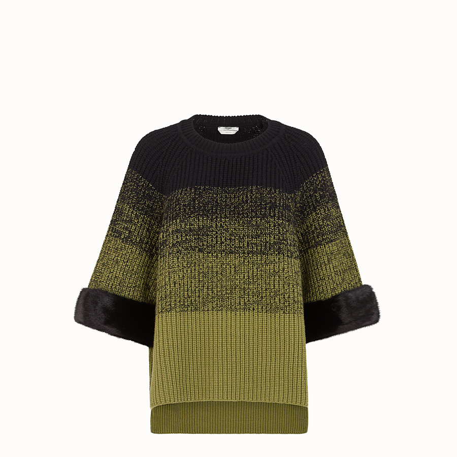 FENDI JUMPER - Green wool jumper - view 1 detail