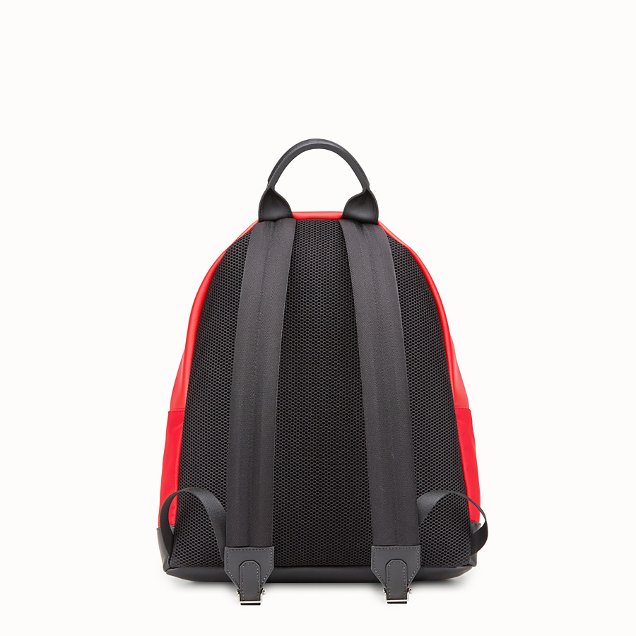 FENDI BACKPACK - Red fabric and leather backpack - view 3 detail