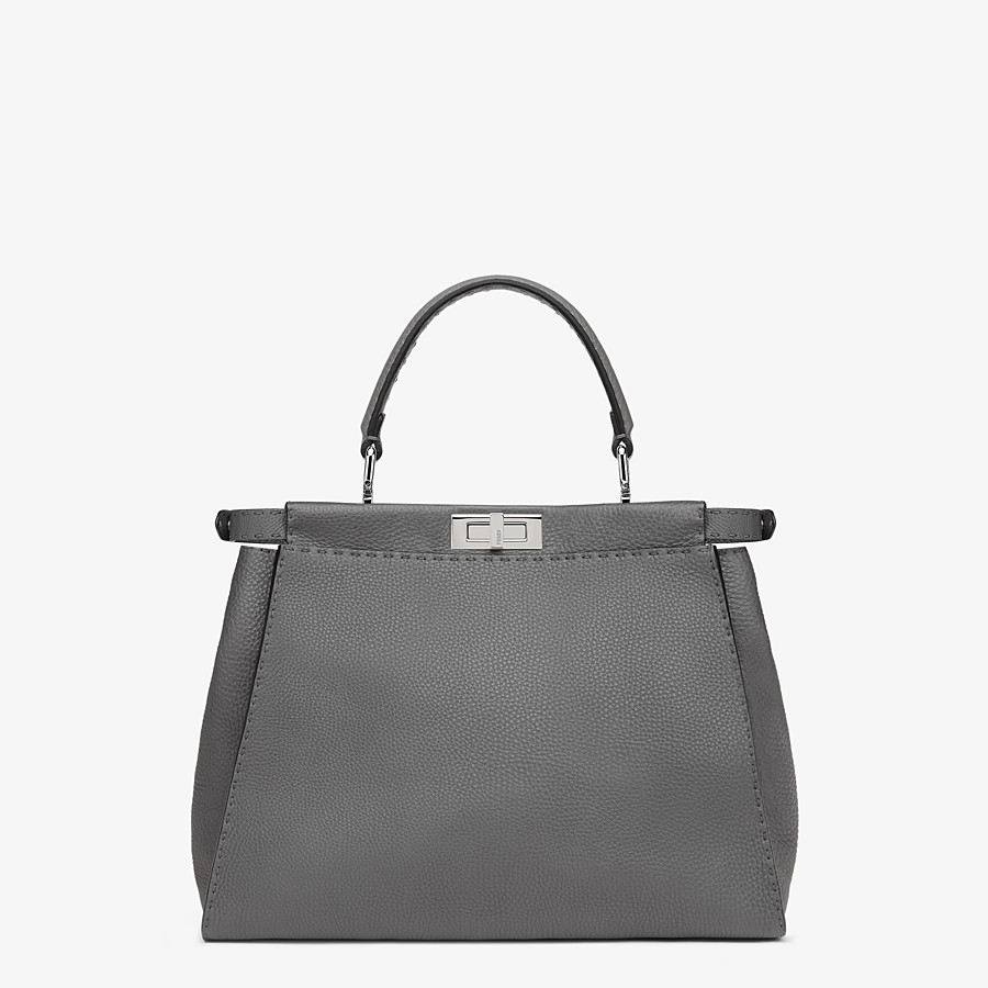 FENDI PEEKABOO ICONIC MEDIUM - Gray Cuoio Romano leather bag - view 3 detail