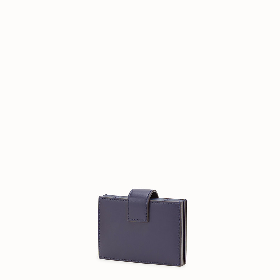 FENDI CARD HOLDER - Blue leather gusseted card holder - view 2 detail