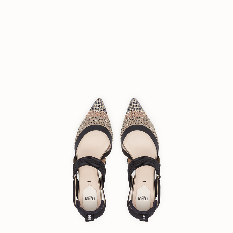 FENDI COURT SHOES - Colibrì in beige mesh - view 4 detail