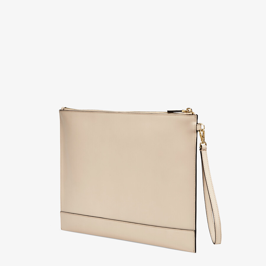 FENDI LARGE FLAT POUCH - Pink leather pouch - view 2 detail