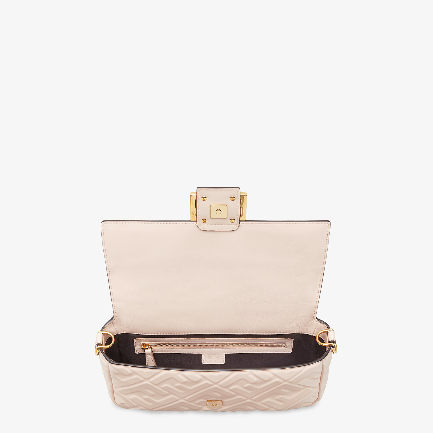 FENDI BAGUETTE - Pink nappa leather FF bag - view 5 detail
