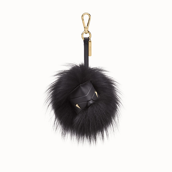 FENDI BAG BUGS CUBE CHARM - Black fox fur charm - view 1 small thumbnail