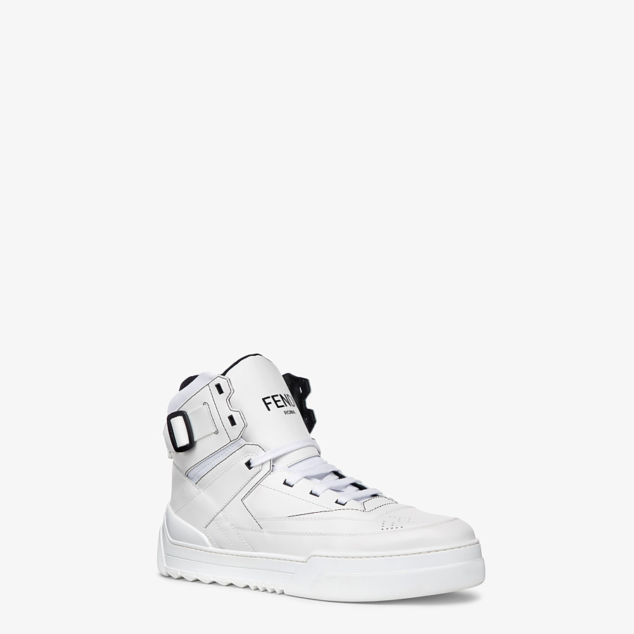 FENDI SNEAKERS - White leather high-tops - view 2 detail