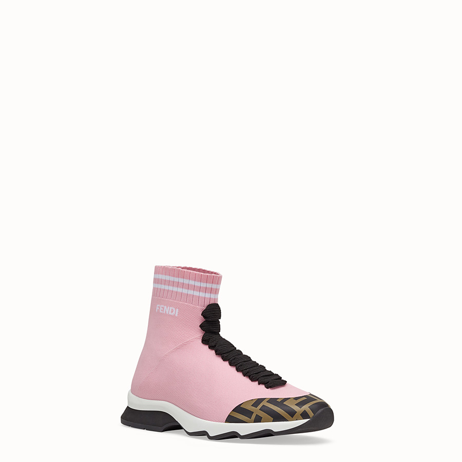 FENDI SNEAKERS - Pink fabric sneakers - view 2 detail