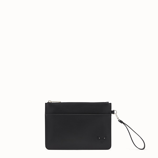 FENDI POUCH - Smooth black leather pochette - view 1 small thumbnail