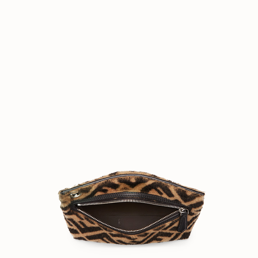 FENDI MEDIUM PYRAMID POUCH - Multicolor shearling pouch - view 3 detail
