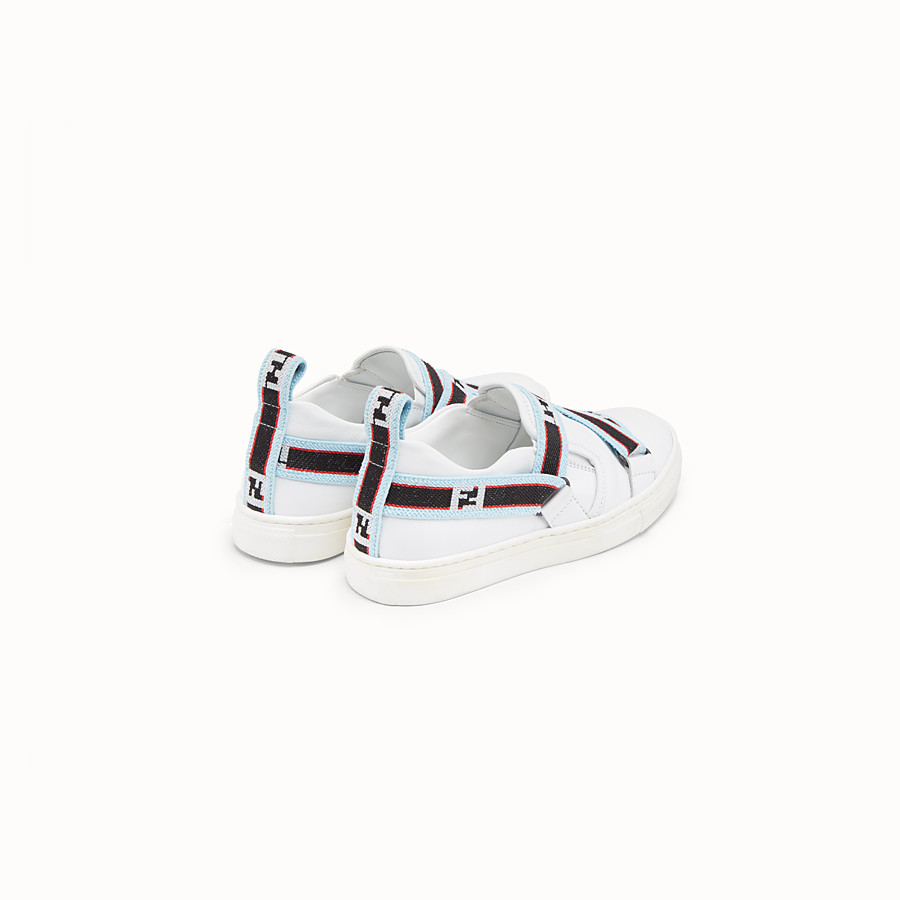 FENDI BOY SLIP-ON - White leather sneakers with multicolour ribbon - view 3 detail