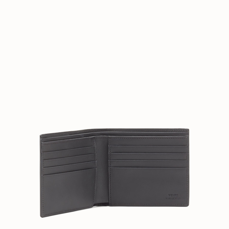 FENDI WALLET - Printed black leather bi-fold - view 3 detail