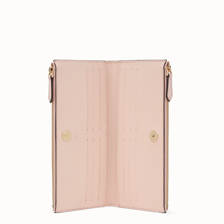 FENDI BIFOLD - Pink leather wallet - view 3 detail
