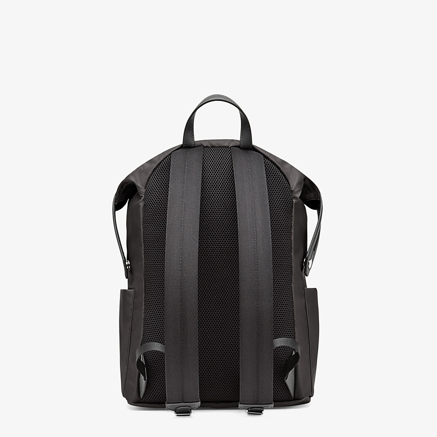 FENDI BACKPACK - Black nylon and leather backpack - view 3 detail