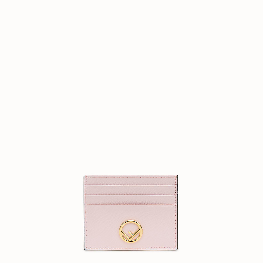 FENDI CARD HOLDER - Pink leather flat card holder - view 1 detail