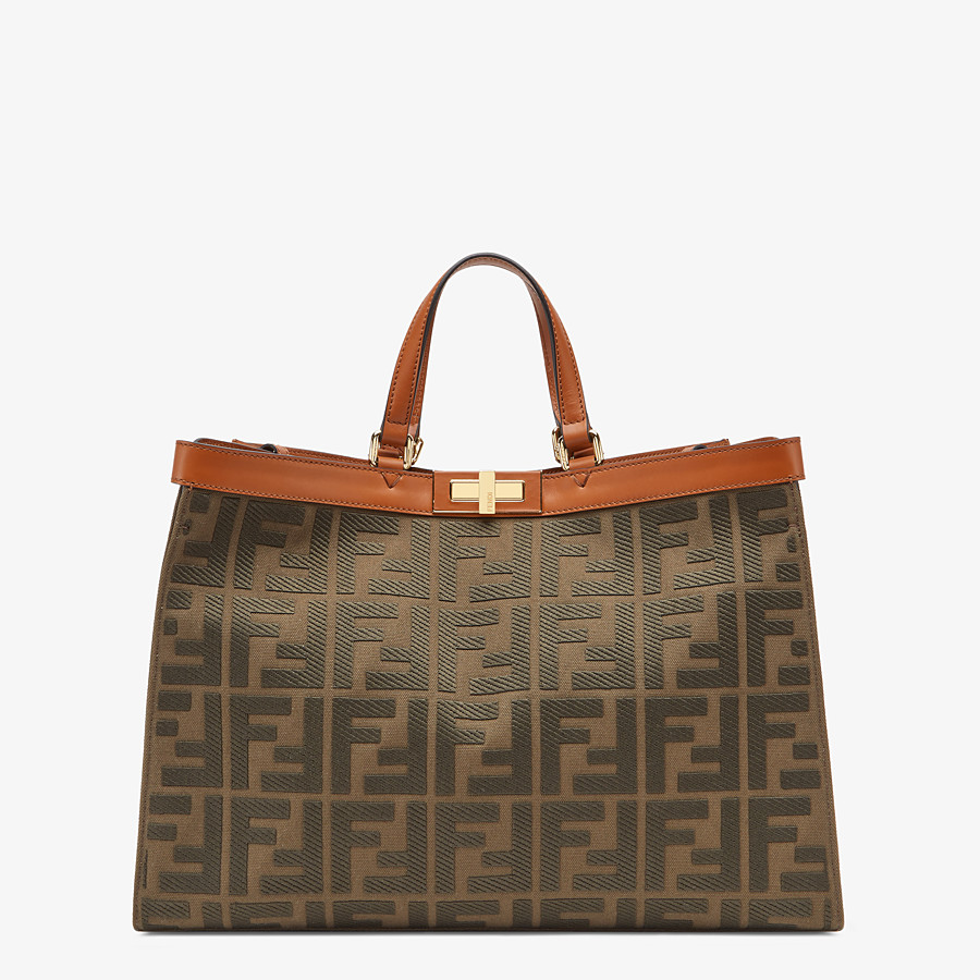 FENDI PEEKABOO X-TOTE - Green canvas bag - view 1 detail
