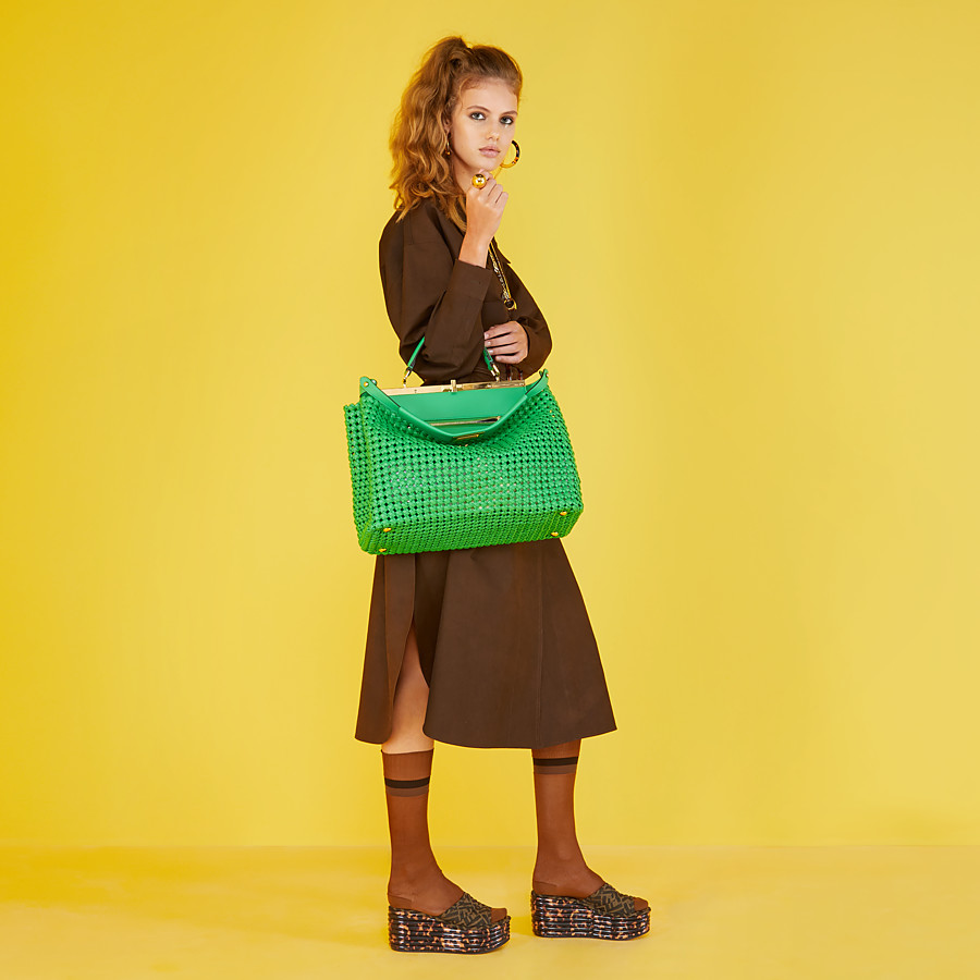 FENDI PEEKABOO ICONIC LARGE - Green leather interlace bag - view 2 detail