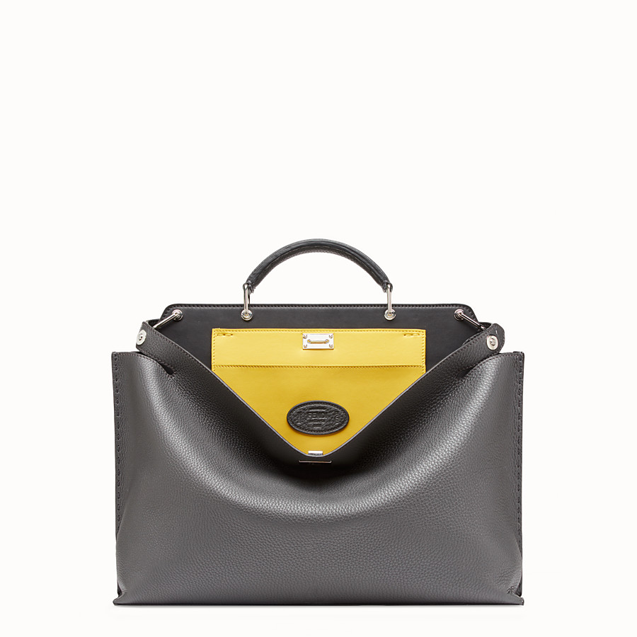 FENDI PEEKABOO ICONIC ESSENTIAL - Gray leather bag - view 1 detail