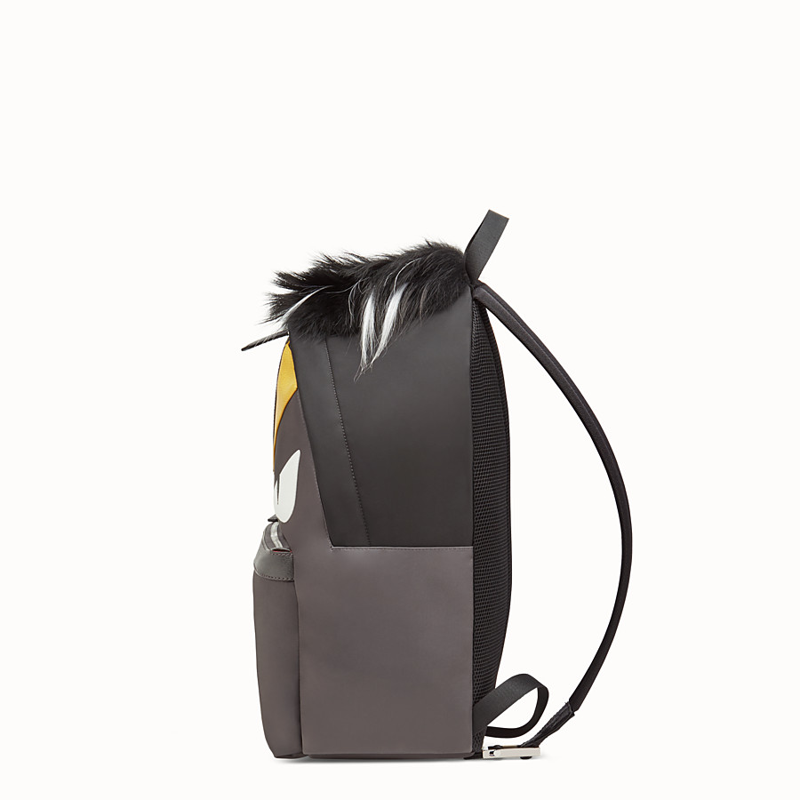FENDI BACKPACK - in nylon and gray leather with inlays - view 2 detail
