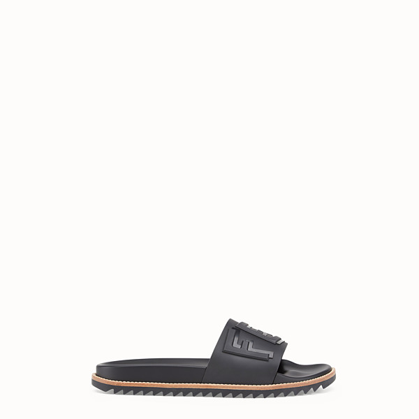 FENDI SLIDES - Black rubber slides - view 1 small thumbnail