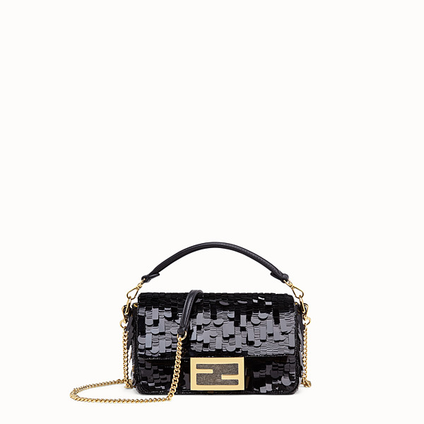 FENDI MINI BAGUETTE - Black sequin minibag - view 1 small thumbnail