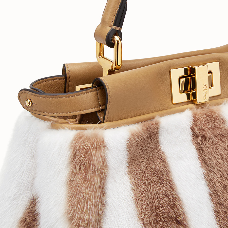 FENDI PEEKABOO ICONIC MINI - White mink bag - view 5 detail