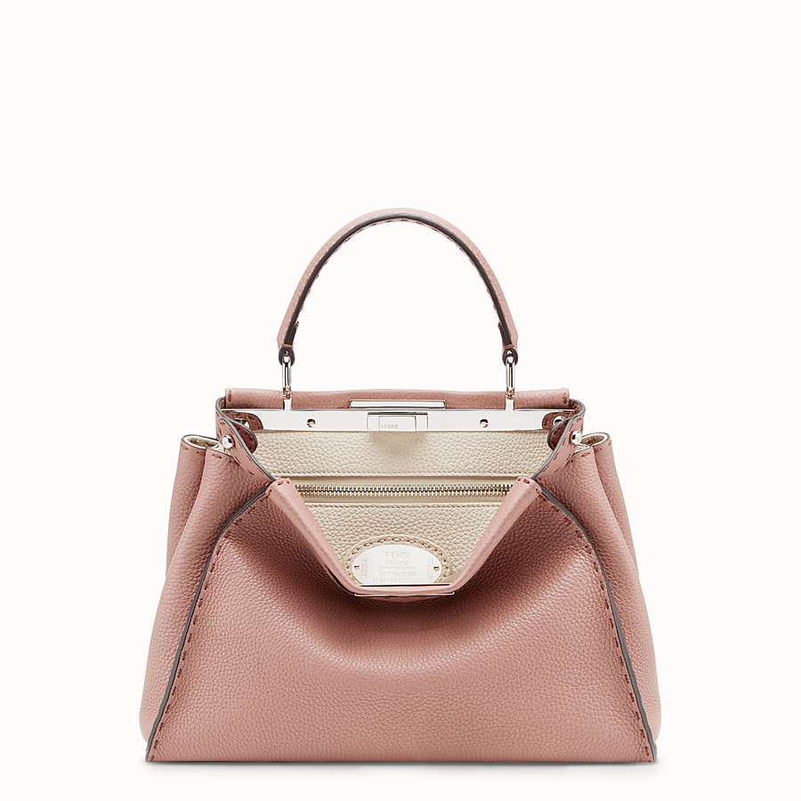 FENDI PEEKABOO REGULAR - Pink leather bag - view 1 detail