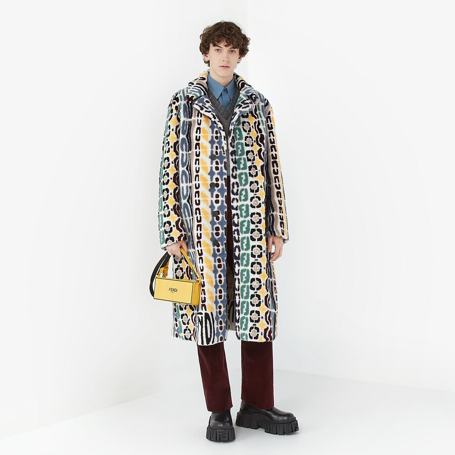 FENDI COAT - Multicolor shearling coat - view 4 detail