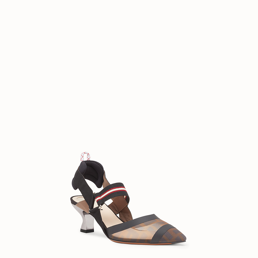 FENDI COURT SHOES - Multicolour technical mesh slingbacks - view 2 detail