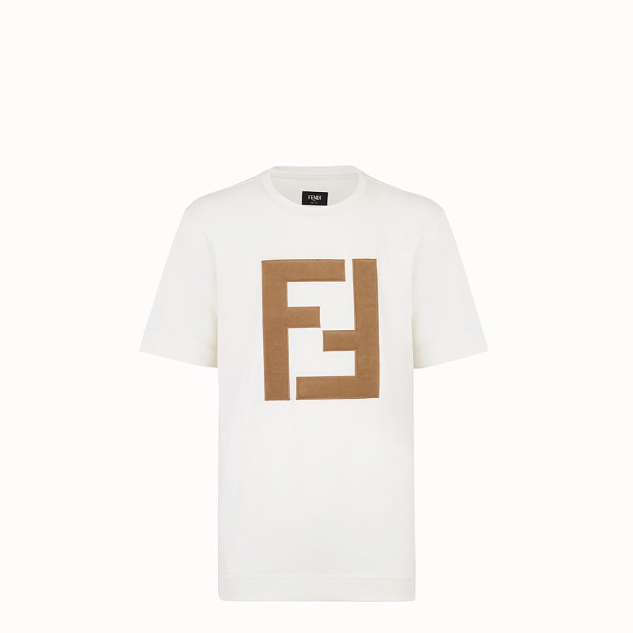 FENDI T-SHIRT - White cotton jersey T-shirt - view 1 detail