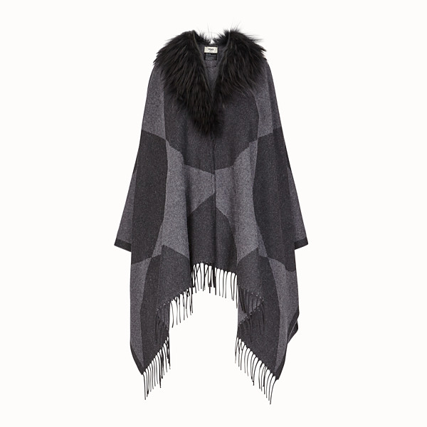 FENDI TOUCH OF FUR PONCHO - Black wool poncho - view 1 small thumbnail