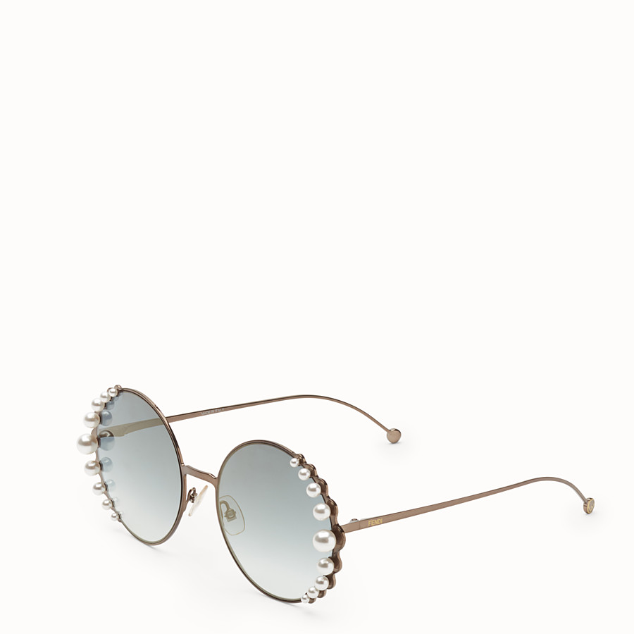 FENDI RIBBONS AND PEARLS - Lunettes de soleil couleur bronze - view 2 detail