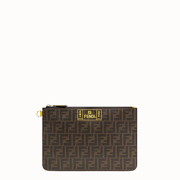 FENDI POUCH - Brown fabric pochette - view 1 small thumbnail