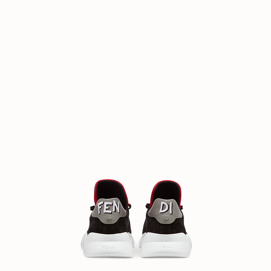 FENDI SNEAKERS - Black split leather low-tops - view 3 detail