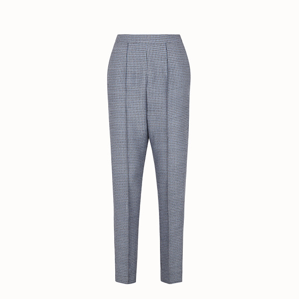 FENDI TROUSERS - Wool and silk Micro-check trousers - view 1 small thumbnail