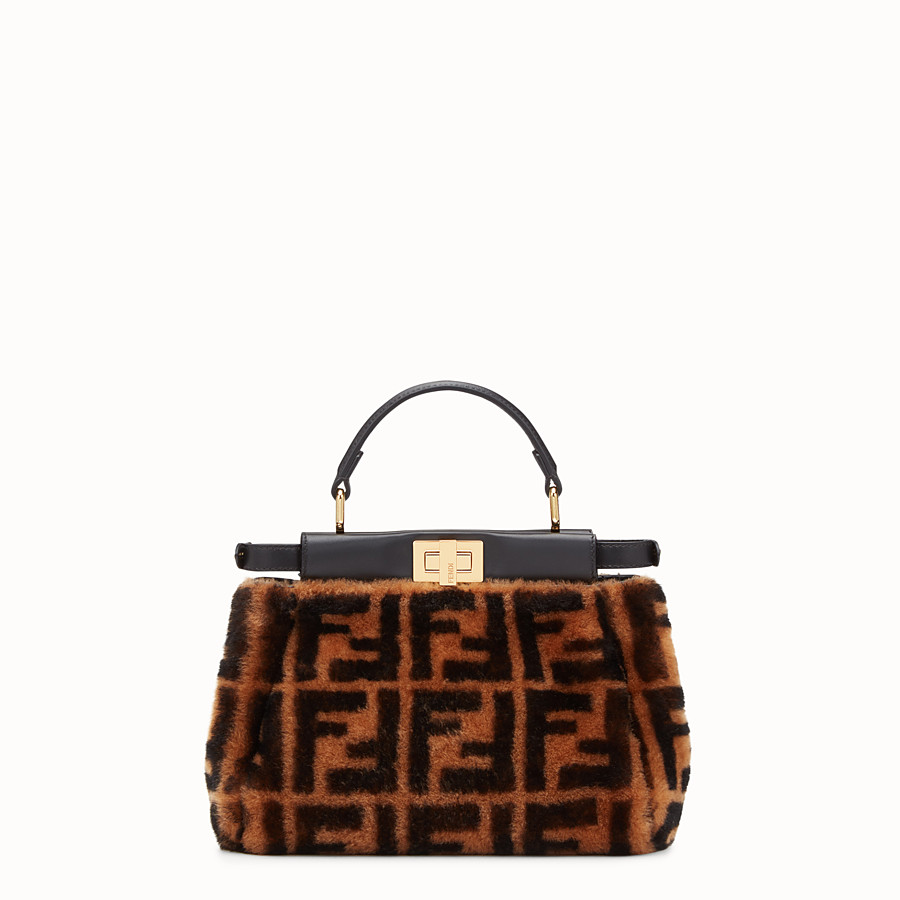 FENDI PEEKABOO MINI - Brown sheepskin bag - view 3 detail