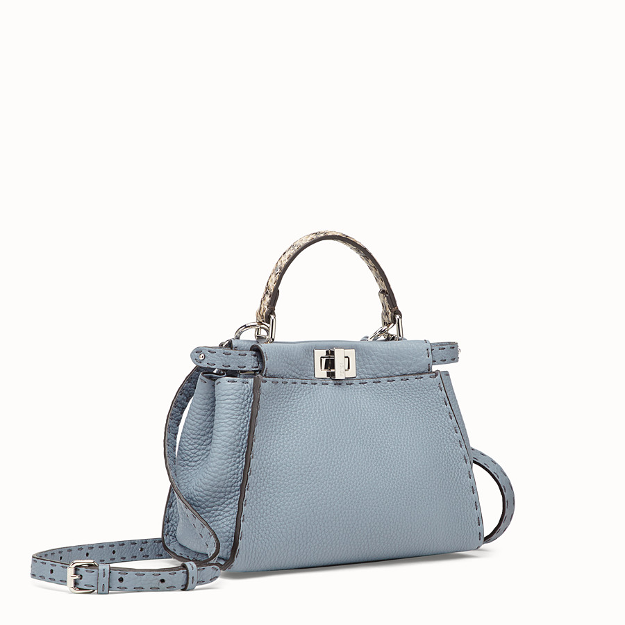 FENDI PEEKABOO MINI - Pale blue leather bag with exotic details - view 2 detail
