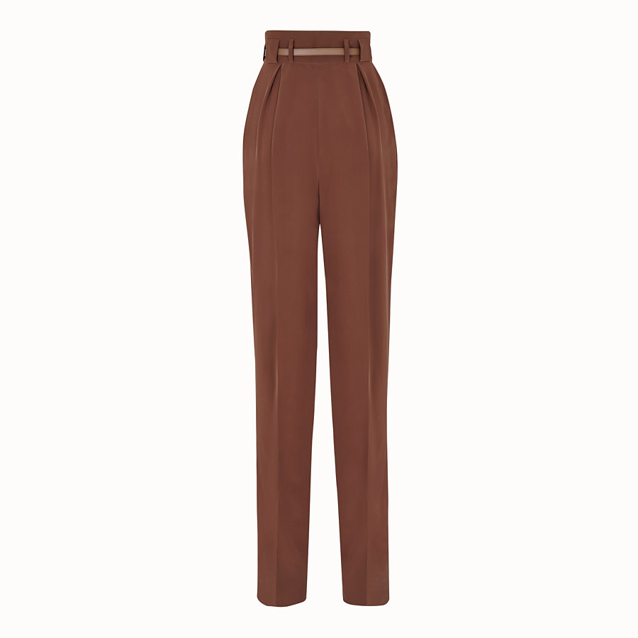FENDI TROUSERS - Brown crêpe de Chine trousers - view 2 detail