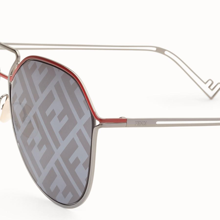 FENDI FENDI GRID - Red and ruthenium sunglasses - view 3 detail